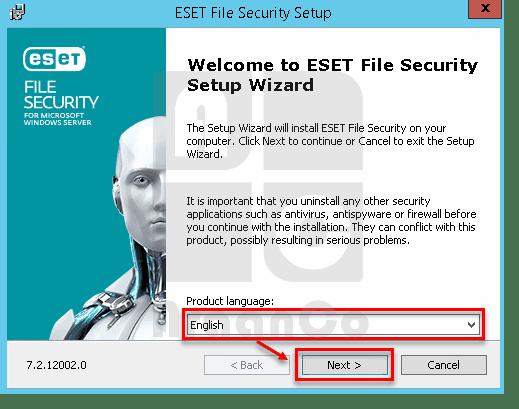 انتخاب زبان در نصب ESET File Security