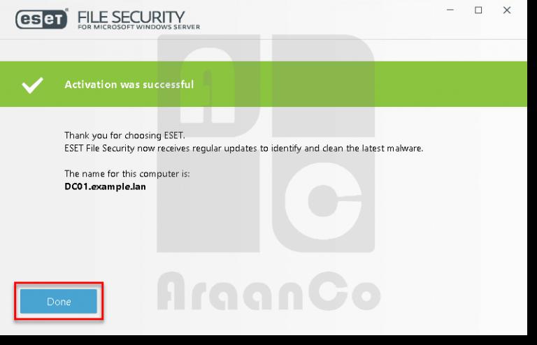 فعال شدن ESET File Security
